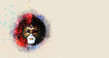 Postcard Of Watercolor Style And Abstract Image Of Elegant Venetian Mask. Italy