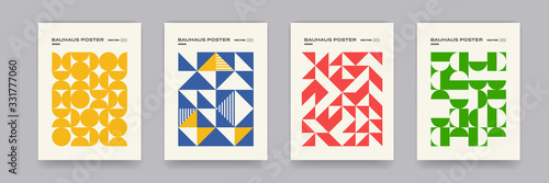 Fototapeta Bauhaus geometric pattern background, vector abstract geometric circle, triangle and square lines art