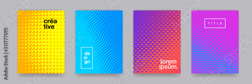 Valokuva Color gradient background, geometric halftone pattern, vector abstract trendy line graphic design