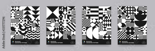 Fototapeta Abstract geometric pattern background, vector Bauhaus circle, triangle and square lines art design. Black and white Bauhaus pattern background, posters set obraz