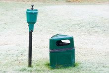 Golf Ball Washer On Pole For Cleaning On Sports Course Putting Green