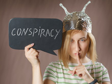 Girl In A Foil Hat With A Sign...