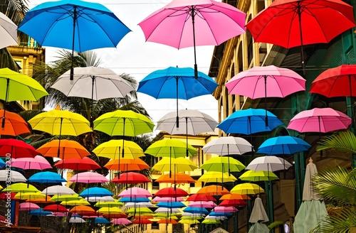 Fototapeta Umbrellas in the Port Louis, the capital of Mauritius