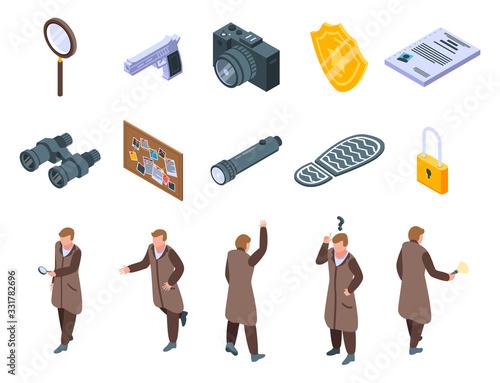 Leinwand Poster Investigator icons set