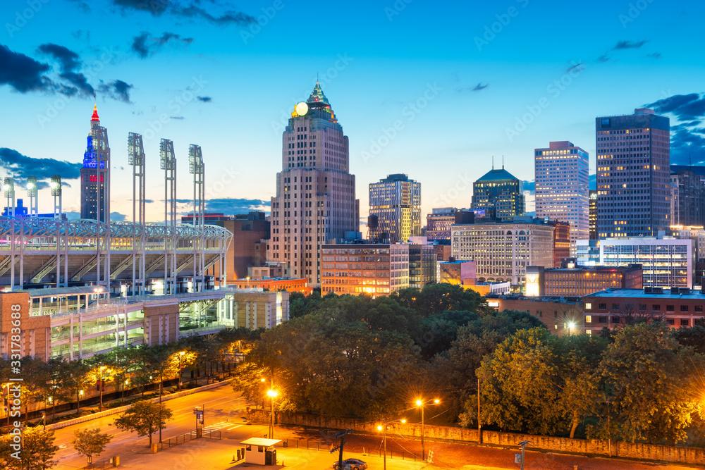 Fototapeta Cleveland, Ohio, USA Downtown Cityscape
