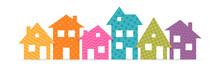 Colorful Suburban Houses Flat ...