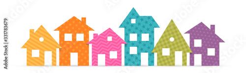 Fototapeta Colorful suburban houses flat icon. Vector illustration