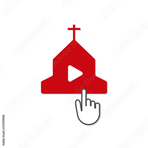 online church service quarantine streaming video vector