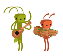 Ant And Grasshopper Cicada Fable