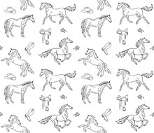 Vector Seamless Pattern Of Han...
