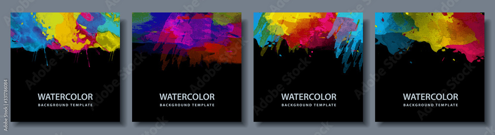 Bundle set of bright vector colorful watercolor on black background for poster or flyer