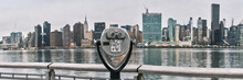 Panorama Of Tourist Binoculars With Manhattan, New York City Skyline In The Background