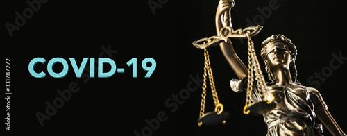 Cuadros en Lienzo coronavirus covid-19 and Statue of Justice - law concept