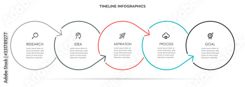 Fotografiet Vector Infographic thin line design with icons and 5 options or steps