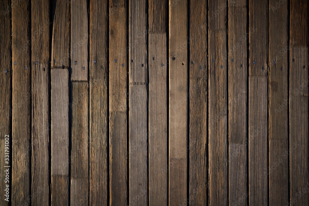 Fototapeta Wooden texture. Old terrace board. Background of old natural wooden dark empty deck with messy and grungy crack beech, oak tree floor texture inside vintage, retro perfect blank. - obraz na płótnie