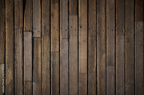 Fototapeta Wooden texture. Old terrace board. Background of old natural wooden dark empty deck with messy and grungy crack beech, oak tree floor texture inside vintage, retro perfect blank. obraz na płótnie