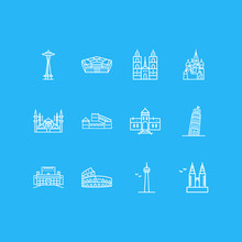 Vector Illustration Of 12 History Icons Line Style. Editable Set Of Space Needle, Blue Mosque, Great Wall Of China And Other Icon Elements.