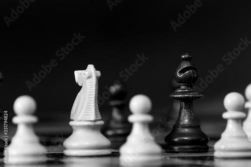 Scacchi fotografati su una scacchiera