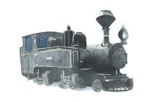 Vintage Retro Steam Black Train Watercolor Illustration. Icon. For Prints, Posters, Logo