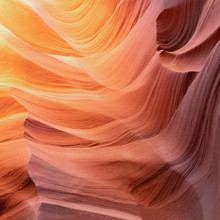 Abstract Colorful Waves In Famous Antelope Canyon, Arizona Near Page, USA - Backround Sandstone Waves
