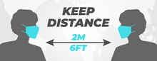 Keep Distance People 2 M Or 6 ...