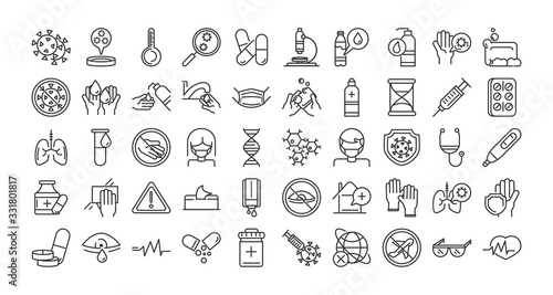 Photo virus covid 19 pandemic respiratory pneumonia disease icons set line style icon