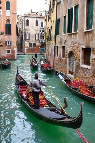 Fototapety, obrazy: Traditional Venice Cityscape with narrow canal, gondola