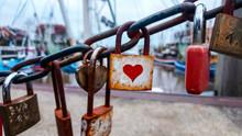 Romantic Lover Padlocks On A B...
