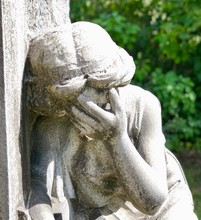 Close View Of Grieving Angel Statue At The Cemetery