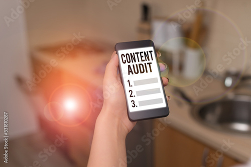 Text sign showing Content Audit Wallpaper Mural