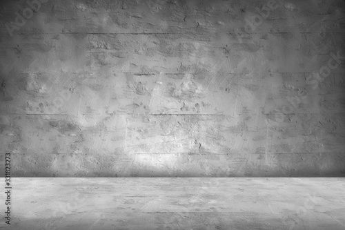 Fototapeta Concrete Wall Background Scene Dark Empty Room with Cement Floor with space for text or image obraz na płótnie
