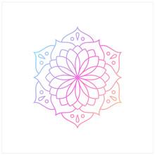 Round Gradient Mandala On Whit...