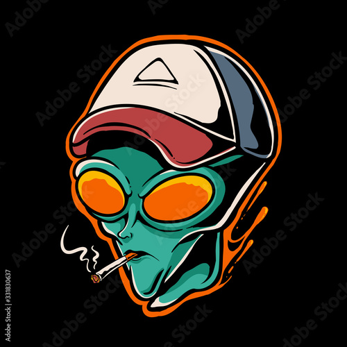 Vászonkép Alien smoking vector illustration