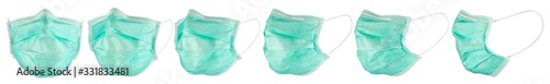 Fotografiet Set collection row of green blue medical respirator breathing face dust mask isolated white background