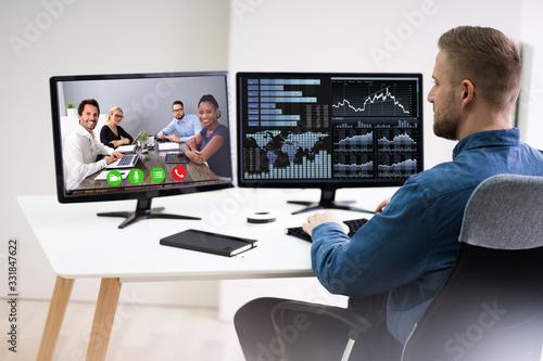 Obraz Businessman Video Conferencing On Computer - fototapety do salonu