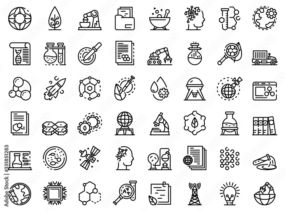 Fototapeta Nanotechnology icons set. Outline set of nanotechnology vector icons for web design isolated on white background