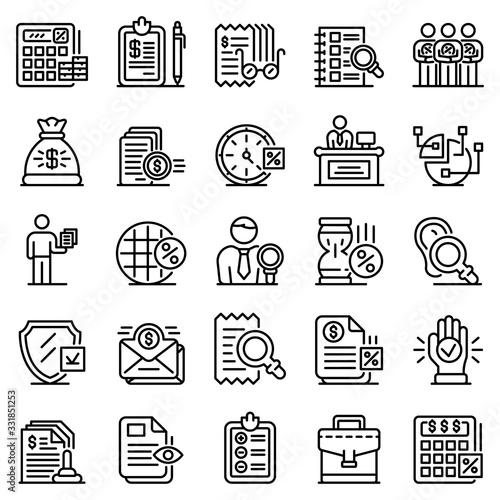 Tax inspector icons set Canvas Print