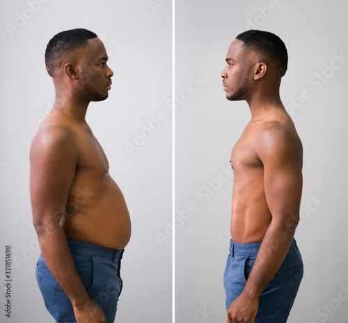 Man Before And After From Fat To Slim Concept Fototapeta