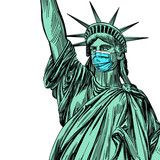 Fototapeta Nowy Jork - statue of liberty in a mask, coronavirus is a dangerous disease in the United States of America, a respirator, protection from the virus. hand drawn vector illustration sketch