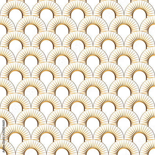 Art Deco gold seamless pattern isolated Canvas Print