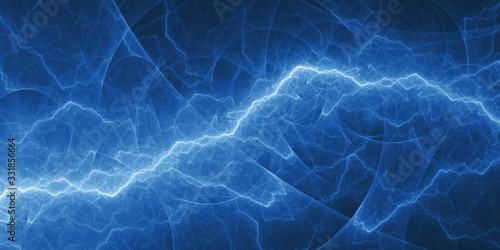 Blue abstract fractal lightning, plasma background Wallpaper Mural