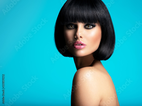 Glamour fashion model with black gloss make-up Canvas