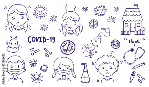 Coronavirus hand drawn icons, Cute health care doodle collection. Health Care icon set, Corona Virus Disease (COVID-19) infographic design element vector illustration.