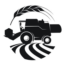Combine Harvester Symbol In A Wheat Frame