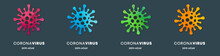 Set Of Coronavirus Shape Icon Labels With Watercolor Background
