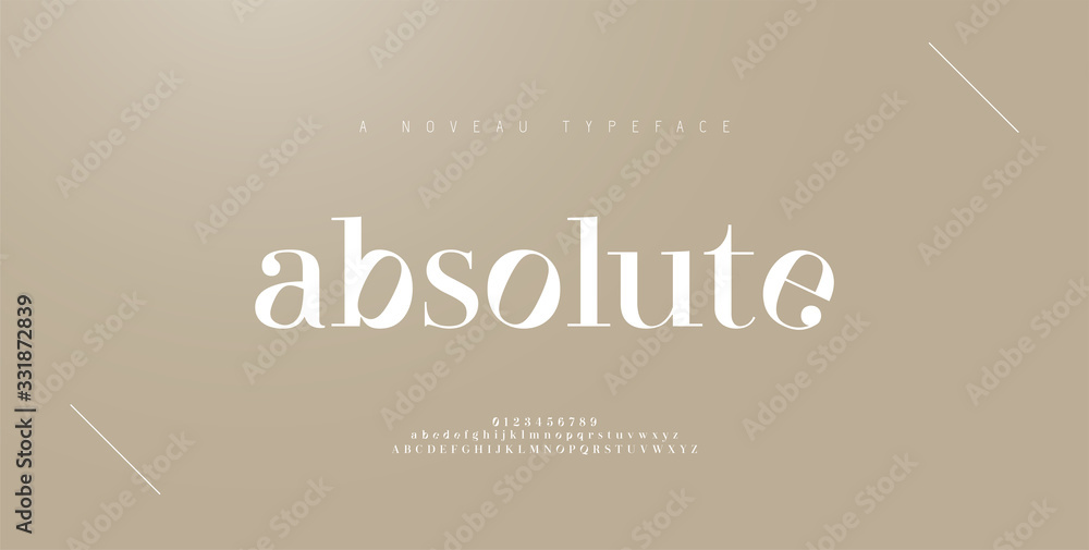 Fototapeta Elegant alphabet letters font and number. Classic Lettering Minimal Fashion Designs. Typography fonts regular uppercase and lowercase. vector illustration