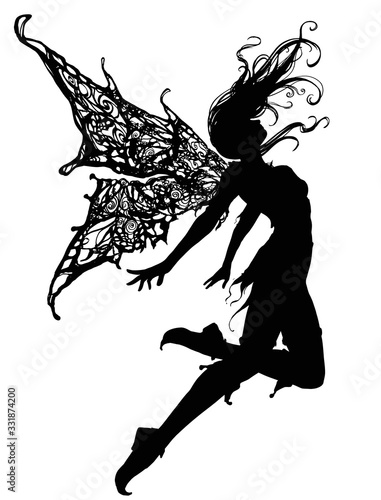 Fotografia, Obraz Silhouette a Beautiful and elegant fairy girl, soaring up caught in the wind , she has beautiful patterned wings, on her feet she has shoes with a pointed nose, she is dressed in a short skirt