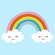 Leinwandbild Motiv Cute rainbow with clouds children's illustration