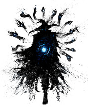A Black Silhouette Of A Wizard In A Sharp-angled Hat And Ragged Cloak, Surrounded By Magic Hands Flying In The Air, His Eyes Fly In His Hands, He Creates A Magic Blue Sphere Spell. 2D Illustration