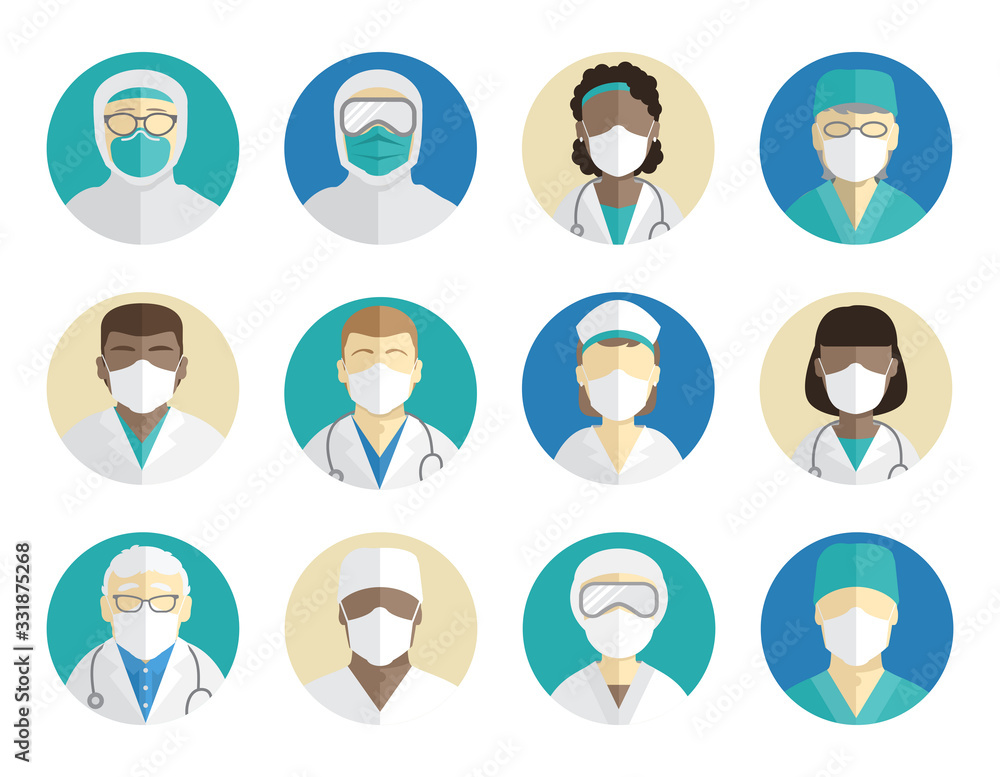 Fototapeta Medical avatars set. Doctors, surgeons, and nurses in protective masks. Protection during an epidemic and pandemic.
